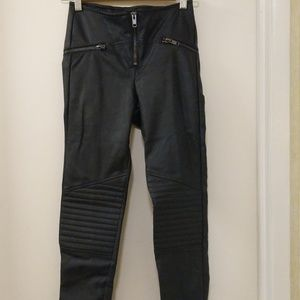 H&M Divided Faux Leather Pants Fitted Black 4 Moto